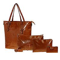Набор женских сумок 4 шт.Коричневый, фото 1
