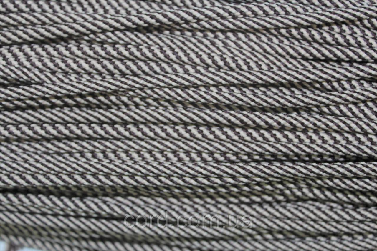 Шнур круглый 5 мм 100м бежевый + коричневый