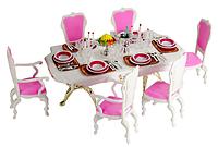 """Набор кукольная мебель Gloria 2312 """"Столовая - Званый ужин"""". Для кукол Барби/Defa 29 см. Стол, стулья, ваза Т"""