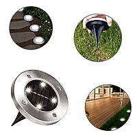 Солнечные уличные светильники для дома и сада Disk Lights комплект из 4-х штук
