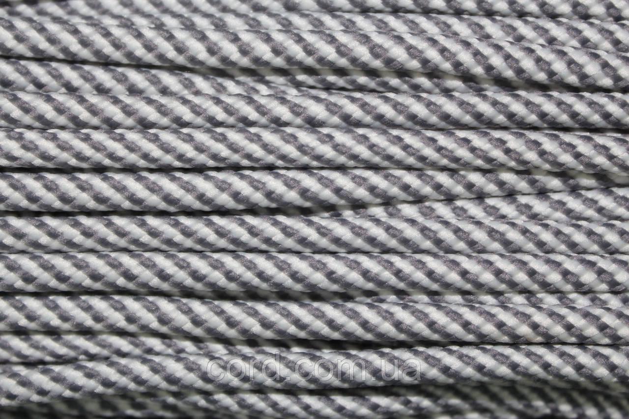 Шнур круглый 5 мм 100м белый + серый
