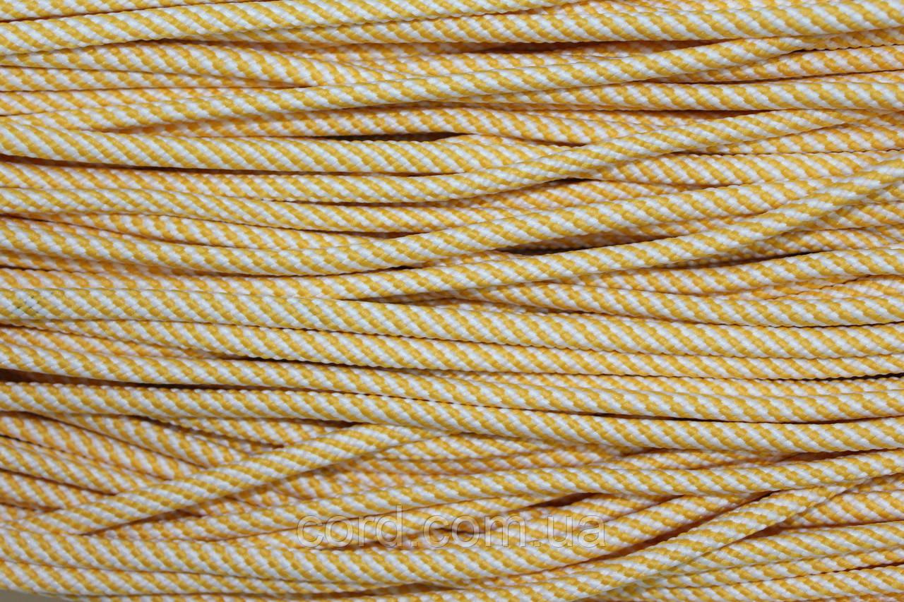 Шнур круглый 5 мм 100м белый + желтый