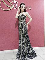Вечернее длинное нарядное платье-футляр-рыбка, кружевное, черно-бежевое, на свадьбу на выпускной, без бретелей