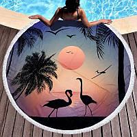 Круглое пляжное полотенце Закат, фламинго (150 см.)