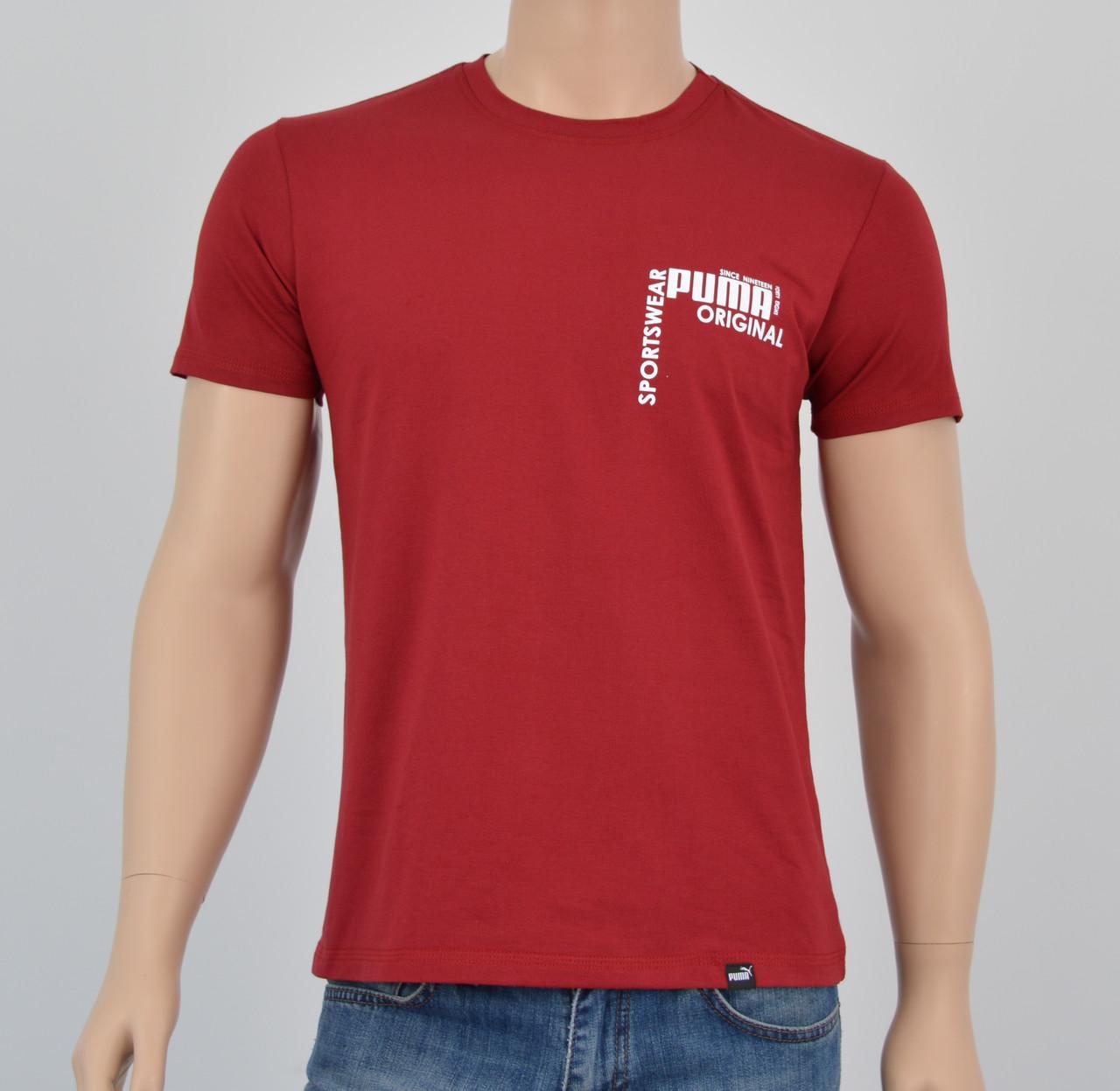 Мужская футболка Puma(реплика) спинка Бордо