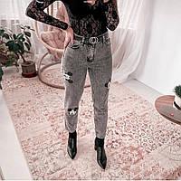 Джинсы женские  стильные ,серые с аппликацией микки мауса, р-р.25, 26 код 362Т