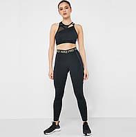 Лосины женские NikeW NP FIERCE 7/8 TIGHT черные с золотом