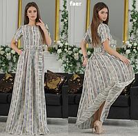 Женское летнее длинное платье в цветах с поясом коттон 42 44 46 48  черное серое синее пудра коричневое