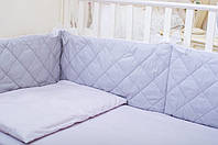 Бортики в детскую кроватку 180х30 см 2 шт Светло-серый