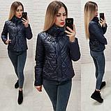 Куртка стеганая стойка воротник с декоративной застежкой, фото 2