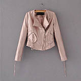 Куртка косуха из экокожи с декоративными шнурками на молниях, фото 2