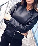 Куртка косуха из экокожи с декоративными шнурками на молниях, фото 4
