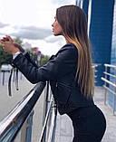 Куртка косуха из экокожи с декоративными шнурками на молниях, фото 5