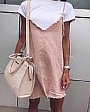 Короткий джинсовый сарафан свободного кроя с белой футболкой в комплекте., фото 8