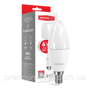 Лампочка светодиодная 1-LED-533-02 C 37  CL- F  6W 3000K 220V E14