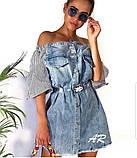 Платье комбинированное асимметричное с открытыми плечами на резинке, фото 3