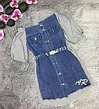 Платье комбинированное асимметричное с открытыми плечами на резинке, фото 4
