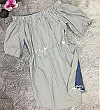 Платье комбинированное асимметричное с открытыми плечами на резинке, фото 5
