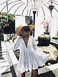 Белая пляжная туника свободного кроя, фото 3