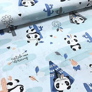 Хлопковая ткань польская панды-индейцы на голубом