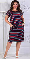 Женское платье из вискозы с круглым вырезом, рукав короткий в полоску   (50-54), фото 1