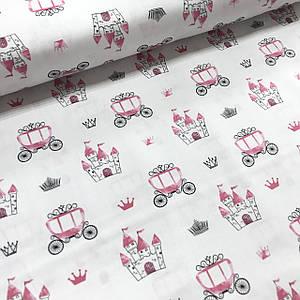 Хлопковая ткань польская розовые замки и кареты на белом