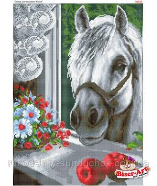 Схема для вишивки бісером (хрестиком) Бисер-Арт  «Кінь у вікні (638)»