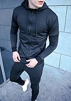 Спортивный костюм мужской с капюшоном черный Турция. Живое фото (весенний костюм)