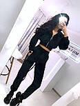Прогулянковий/спортивний велюровий/оксамитовий костюм:коротка кофта та штани з високою посадкою (в кольорах), фото 3