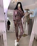 Прогулянковий/спортивний велюровий/оксамитовий костюм:коротка кофта та штани з високою посадкою (в кольорах), фото 4