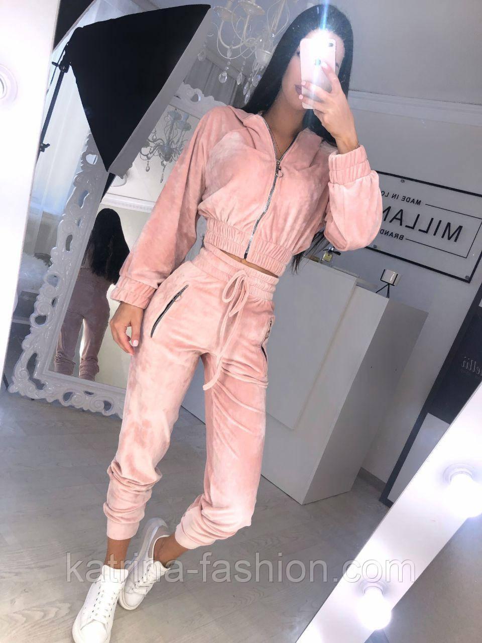 Прогулянковий/спортивний велюровий/оксамитовий костюм:коротка кофта та штани з високою посадкою (в кольорах)