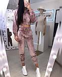 Прогулянковий/спортивний велюровий/оксамитовий костюм:коротка кофта та штани з високою посадкою (в кольорах), фото 7
