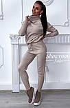 Женский вязаный спортивный костюм под горло на рукавах с орнаментом в стиле спорт шик, фото 6