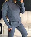 Женский вязаный спортивный костюм под горло на рукавах с орнаментом в стиле спорт шик, фото 10