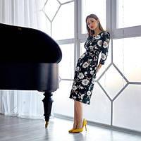 Красивое женское платье с поясом весна с цветами 42-50 размеры бутылочное 42