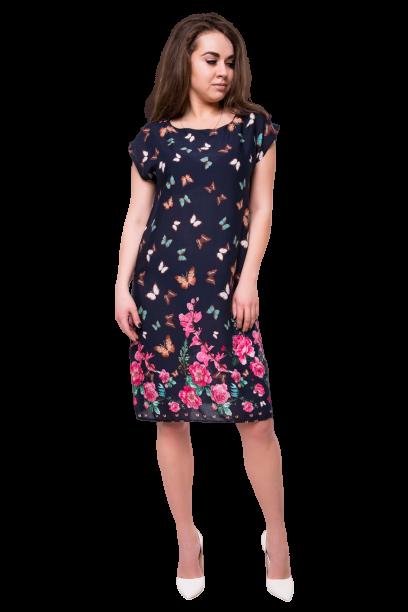 Летнее платье миди из вискозы с принтом бабочками C300S-3 синее