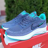 Женские кроссовки Nike Flyknit Lunar 3 серые с зеленым. Живое фото. Реплика