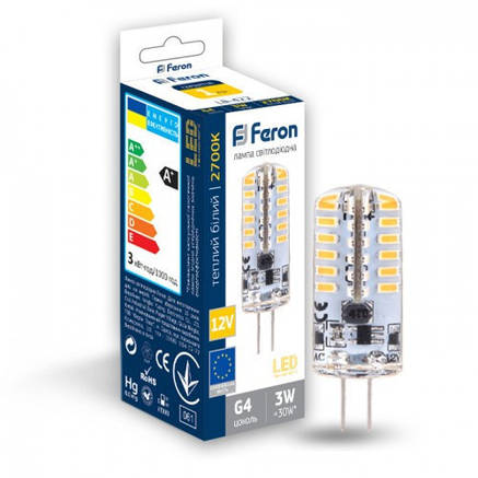 Светодиодная лампа Feron LB-422 AC/DC12V 3W 48leds G4 2700K 240Lm, фото 2