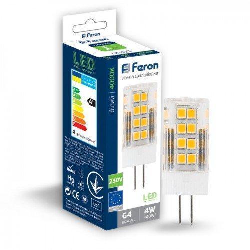 Світлодіодна лампа Feron LB-423 230V 4W 51leds G4 4000K 320Lm