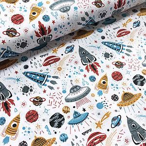 Хлопковая ткань польская нарисованные разноцветные ракеты, планеты на белом