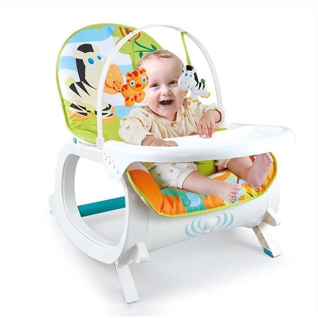 Детский музыкальный шезлонг-качалка 2 в 1 Bambi 7188 Зебра для детей весом до 18 кг, с вибрацией
