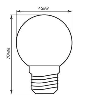 Светодиодная лампа Feron LB-37 G45 230V 1W E27 красная, фото 2