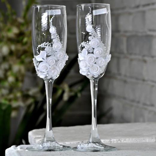 Набор декорированных свадебных бокалов для шампанского Rona Gala 200 мл х 2 шт (1106)