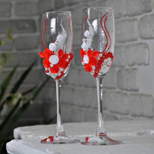 Декорированные свадебные бокалы молодым Rona Gala 200 мл х 2 шт (1108)