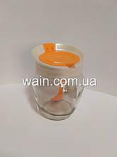 Емкость стеклянная 550 мл оранжевая для пищевых продуктов с пластиковой крышкой и ложкой Everglass