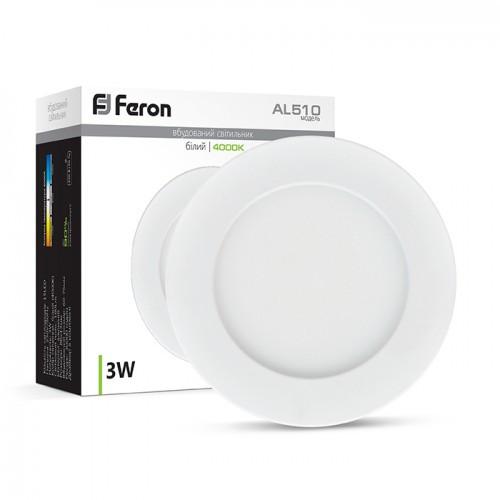 Светодиодный светильник Feron AL510 3W круг белый 180Lm 4000K 85*18mm OL