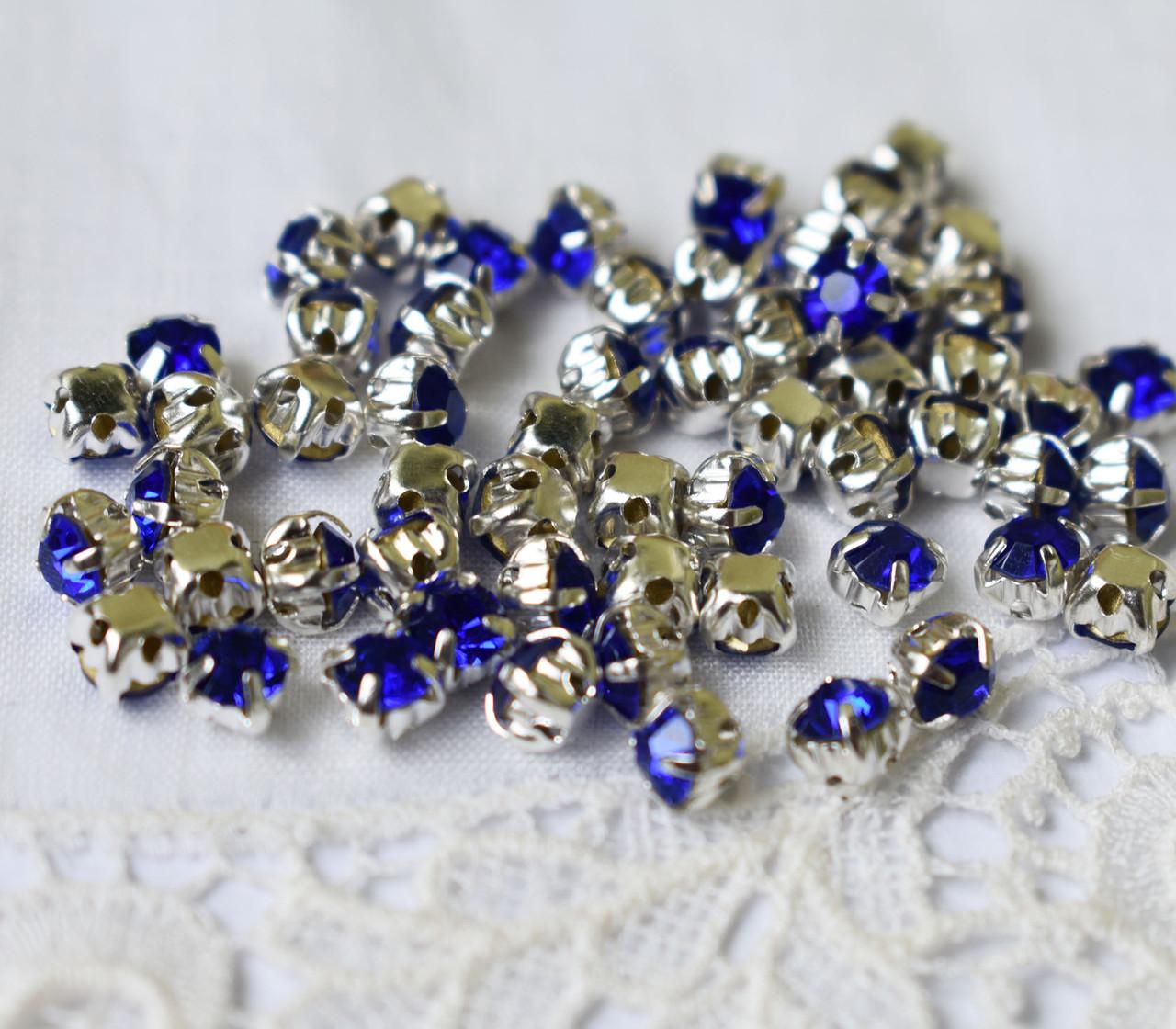 Стразы пришивные 4 мм синие, стекло,10 шт