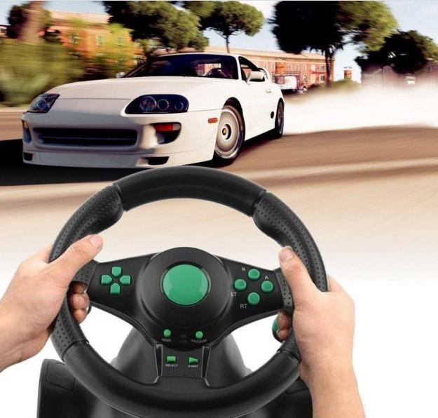 Гоночный руль Vibration Steering Wheel ps3 ps2 pc USB мультимедийный 3 в 1