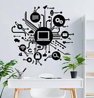 Текстовая наклейка на стену WORK IN PROGRES (виниловый стикер компьютер, декор офиса)