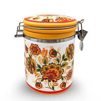 Емкость для сыпучих продуктов 750 мл Цветочная роспись Snt 629-16